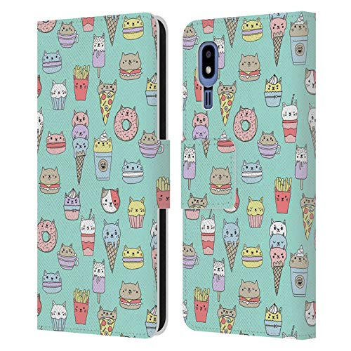 Officiële Andrea Lauren Design Kattenvoer Voedsel Patroon Lederen Book Portemonnee Cover Compatibel voor Samsung Galaxy A2 Core (2019)