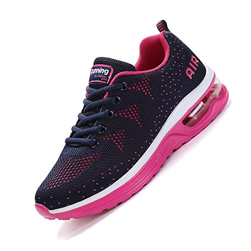 smarten Sportschuhe,Herren Damen Laufschuhe mit Luftpolster Turnschuhe Profilsohle Sneakers Air Leichte Schuhe Pink 38