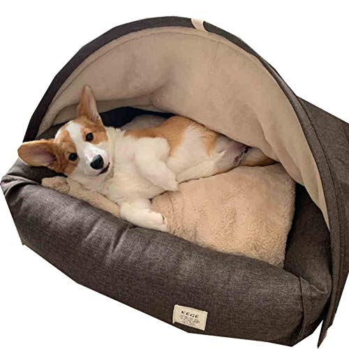 Deluxe Cosy Cave Cat Bed Pod,Calming Dog Bed with Roof xl Small Large Orthopedic Cushion Washable Plush Tent Anti Anxiety Chew Medium Warm Heated Wicker Indestructible