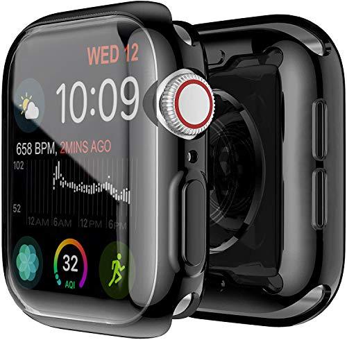 Yolin [2-Stück] All-Aro& TPU Bildschirmschutz Kompatibel mit Apple Watch Series 6/ SE/Series 5 / Series 4 44mm, Superdünne Weiche Schutzhülle für iwatch 44mm (1 Schwarz + 1 Transparent)