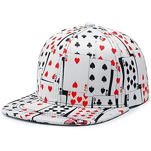 Bjhneq Gorra de béisbol Compra Nuevo Hip Tommes Poker Imprimir Sombrero de béisbol Mujeres Hombres Elegantes al Aire Libre antiviolento Sunshamp