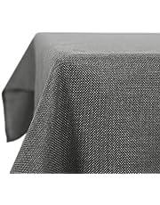 Deconovo Linnen Tafelkleed Waterafstotend Rechthoek Vierkante Tafeldoek met Lotuseffect in Polyester Afneembaar voor Eettafel Partij