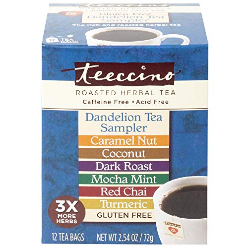 Teeccino Dandelion Tea Sampler - Caramel, Coconut, Dark Roast, Mocha Mint, Red Chai, Turmeric - Prebiotic Coffee Substitute | Caffeine Free | Gluten Free | Acid Free | Coffee Alternative, 12 Tea Bags