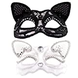 AUEAR, 2 Pack Cat Masquerade Mask Black and White Luxury Sexy Cat Mask with Beads Decoration Fox Mask Venice Style Half Face Ball Mask Womens Costume Mask