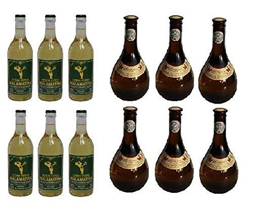 12x 500 ml beliebter Retsina aus Griechenland Malamatina & Kechribari im Set geharzter Weißwein 11,5% Spar Set 12 Flaschen Weiß Wein + 2 Probiersachets a 10 ml Olivenöl von Kreta gratis