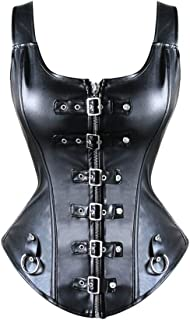 Black Fashion Sexy Corset Womens Faux Leather Lace Up Waist Training Bustier, Gives You Perfectly Hourglass Shape, for Cos...