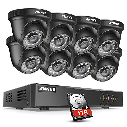ANNKE Home Security Camera System 8 Channel 5MP Lite H.265+ DVR with 1TB Hard Drive and (8) HD 1080P Weatherproof CCTV Dome Cameras, Smart Playback, Instant email Alert with Image – E200