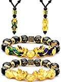 4 Piezas Conjunto de Collar Pulsera de Feng Shui Pi Xiu Pi Yao, Collares Ajustables de Suerte Riquez...