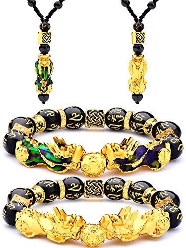 4 Piezas Conjunto de Collar Pulsera de Feng Shui Pi Xiu Pi Yao, Collares Ajustables de Suerte Riqueza Feng Shui Nafu Pulsera de Cuentas Negras con Cuenta Amuleto Tallada a Mano para Hombres Mujeres