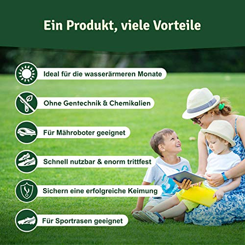 Veddelholzer Rasensamen dürreresistent für Trockenrasen & Schattenrasen Samen Grassamen schnellkeimend ideal als Saatgut für Sport und Spielrasen Rasen für Mähroboter im Garten geeignet 1 kg = 40 m²