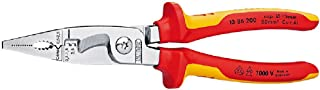Knipex 13 86 200 SB Pliers for Electrical Installation Chrome Plated Insulated with Multi-Component Grips, VDE-Tested, 200...