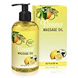 Renew Massage Oil with Orange, Lemon & Peppermint Essential Oils - Great for Massage Therapy or Home...