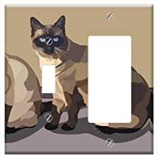 1-Toggle 1-Rocker/GFCI Combination Wall Plate Cover - Siamese Cat Pets Beige Pride Together Curious