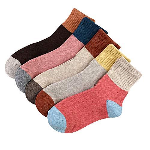 collectsound Calcetines Para Mujer, 5 Par/Set Otoño Invierno Mujer Calcetines De Tubo Medio Elásticos De Punto Grueso Y Cálido Para Mujer Mezcla de colores *
