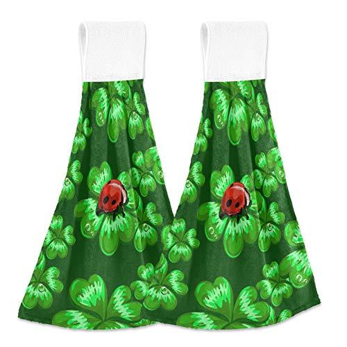 Clover Ladybug 20200511 - Juego de 2 toallas de mano para baño con diseño de mariquita, color verde