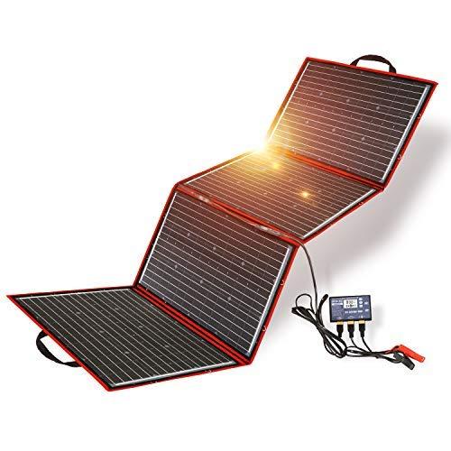 Dokio 200w 18v Kit Placa Solar PortáTil (5,3 Kg,73*54*1,2cm) Plegable Monocristalino (Alta Eficiencia) Para Cargar 12v BateríAs De Coche Gel AGM ácido Bomba Autocaravanas Caravanas