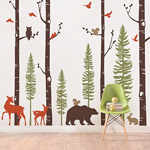 Simple Shapes Birch Trees with Animals Wall Decal - Scheme A - 108