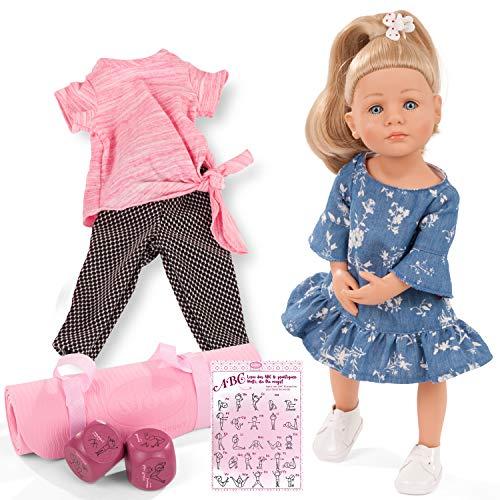 Götz 2111022 Little Kidz Lotta Puppe - 36 cm große Multigelenk-Stehpuppe mit blonden Haaren und blauen Augen - 13-teiliges Set