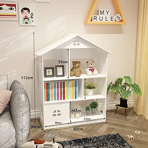 Librería creativa Castillo infantil piso estante de almacenamiento para estudiantes pequeños (color: blanco, tamaño: 112 * 80 * 30cm),White