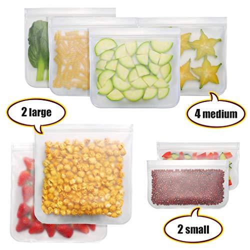 Pahajim Lebensmittel Beutel Wiederverwendbare Vielseitige Aufbewahrungsbeutel für Obst und Gemüsebeutel Milch,ohne BPA,Auslaufsichere Gefrierbeutel Wiederverwendbar Set (Weiß-8)