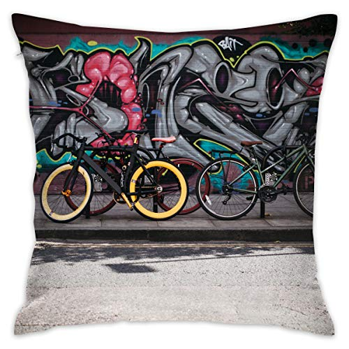 Jiger Throw Pillow Cushion Cover, Black and Yellow Fatbike Beside Mountain Bikes, Decoratieve Square Accent Pillow Case, 18X 18 inch