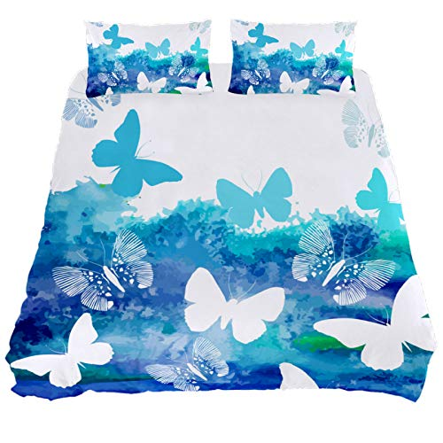 HULKBIDBV 3 Pieces Art Blue Butterfly Duvet Cover Set (1 Duvet Cover + 2 Pillowcases) Custom Design Bedding Set Soft Fiber Bedding Sets, New Twin.