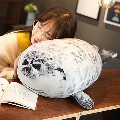 AYQX Súper simulación Japan Seal Peluche de Juguete Impresión 3D Sello Realista Almohada rellena Grasa Animales Marinos Peluches Muñeca Juguetes para niños abput30cm Greyseal