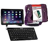 Navitech Konverterpaket Inklusive drahtloser Bluetooth-Tastatur/lila Tasche & tragbarem Standfuß kompatibel mit Archos 70 Xenon Color | Archos 79 Platinum
