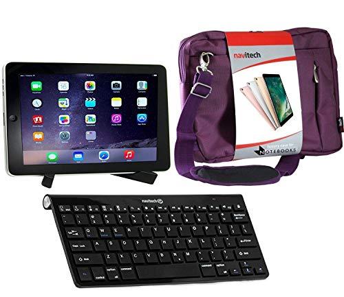 Navitech Konverterpaket Inklusive drahtloser Bluetooth-Tastatur/lila Tasche & tragbarem Standfuß kompatibel mit Medion lifetab X10300 | Medion Lifetab X10311