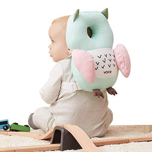 Bebamour Baby Head Schutzpolster Atmungsaktive Köpfe Stützkissen für Kleinkinder Verstellbare Kopfstützen-Rückenschutzkissen (Grün)