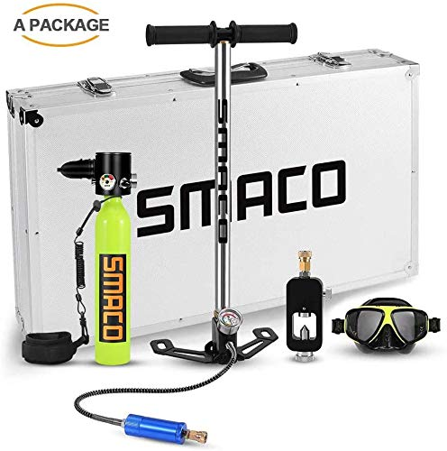 SMACO Scuba Diving Tank Equipment, Mini Scuba Dive Cylinder with 12-20 Minutes Capability, Pressure& Corrosion Resistant Material with Refillable Design