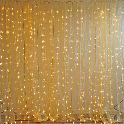 Efavormart 20Ft x 10Ft Sheer Curtain Backdrop with 600 Warm White LED Lights Organza Fabric Studio Background - Gold