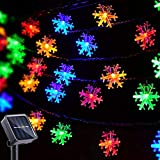 Christmas Lights Outdoor Snowflake Decorations Multicolor Solar String Lights, 50 LED 8 Modes Christmas Fairy Lights for Christmas Tree Roof Window Backyard Porch Party Decor