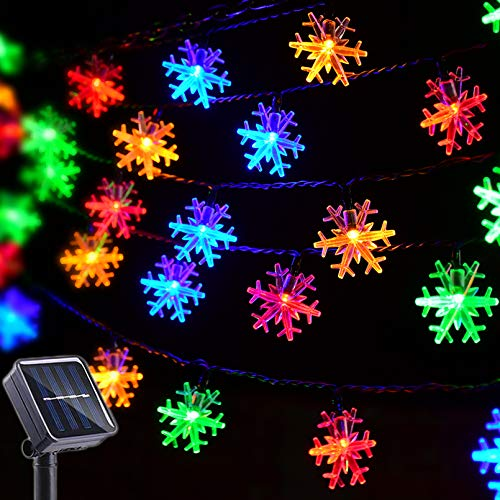 Huacenmy Christmas Lights Outdoor Snowflake Decorations Multicolor Solar String Lights, 50 LED 8 Modes Christmas Fairy Lights for Christmas Tree Roof Window Backyard Porch Party Decor