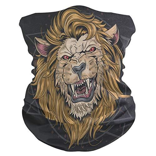 LDIYEU Enojado Golden Lion Cat King Pañuelo Bandana para la Cara 3D Balaclava Motero Bufanda Ciclismo Bici Máscara Facial Protección UV para Ciclismo con Bolsillo