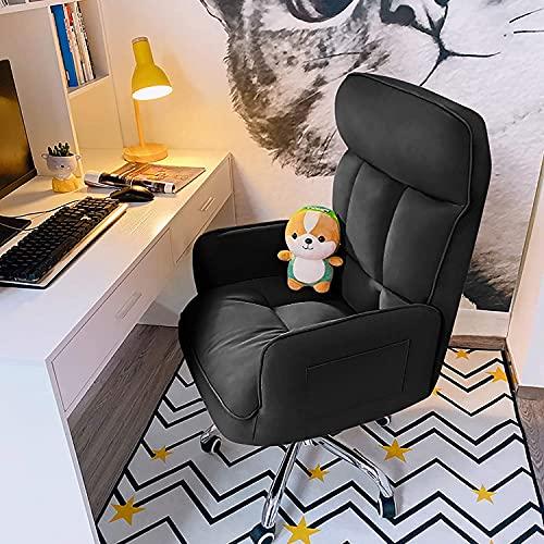 Silla moderna giratoria para el hogar, con respaldo alto, con reposabrazos, silla de oficina de cuero, altura ajustable, silla ejecutiva ergonómica para mujeres, adultos, niñas chayelu (color negro)