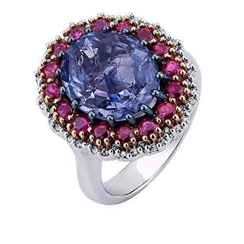 Carlo Raspagni Maestri joyeros Desde 1889 Anillo de Oro Blanco 18 KT. con Diamantes Brillantes rubíes y Zafiro Ceylon CT. 7,14