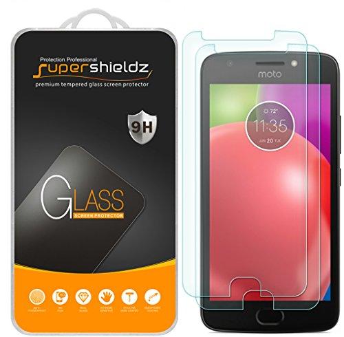 (2 Pack) Supershieldz Designed for Motorola (Moto E4) and Moto E (4th Generation) Tempered Glass Screen Protector, 0.33mm, Anti Scratch, Bubble Free