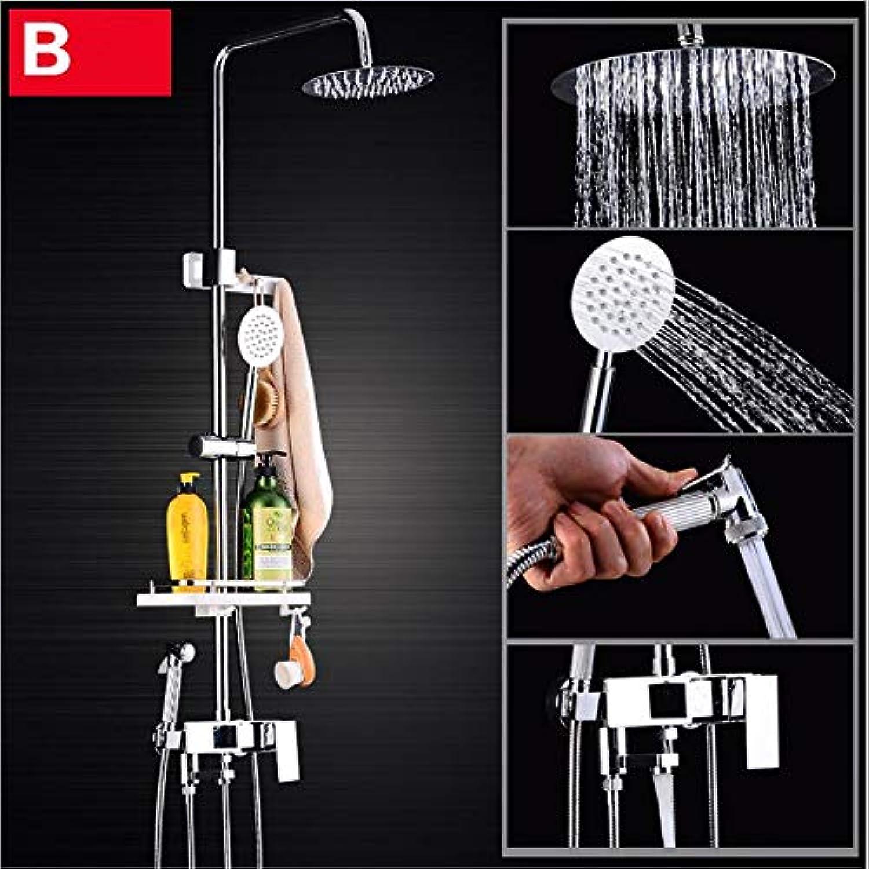 HXYL Duschsystem, Bad Wall-montiert Duschsystem Hochdruck-Regenflle, mit Hand-gehaltene Dusche, mit Speicherplatz, Zwei Stile Stehen zur Verfügung, EIN Key Four,B