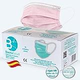 BAENA SALUD 50 Mascarillas Quirúrgicas, higiénicas, desechables, Tipo IIR, en color rosa, filtración (BFE) 98%, hechas en España