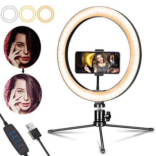 OMID Ring Light, Upgraded Ring Light with Stand & Phone Holder, 10 inch 3000-5800K 3-Color Dimmable LED Ring Lights, Fill Light for Video, Vlog, Selfie, Makeup, Live Stream, Photography