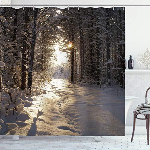 ABAKUHAUS Winter Duschvorhang, Weihnachten Schnee Wald, Wasser Blickdicht inkl.12 Ringe Langhaltig Bakterie & Schimmel Resistent, 175 x 220 cm, Hellgelb Braun