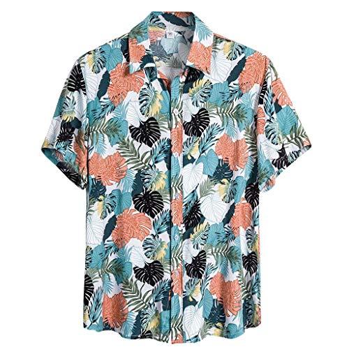 KPILP Funky Hawaiihemd Herren Kurzarm Urlaub Hemd Freizeit Hemd Hawaii-Print Strand Palmen Meer Button Down Freizeithemd Shirts