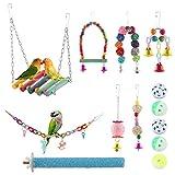 E-More Juguetes para Pájaros Colorful Columpio para Loros Accesorios Jaula Pajaros Bite Toy con Campanas para Periquitos, Cockatiels, Africana Greys Loros Paquete de 12