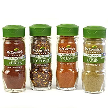 McCormick Gourmet Organic Spices (Smoked Paprika, Crushed Red Pepper, Cayenne Pepper, Ground Cumin), 4 Count