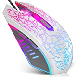 VersionTECH. Wired Gaming Mouse, Ergonomic USB Optical Mouse Mice with Chroma RGB Backlit, 1200 to 3600 DPI for Laptop PC Computer Games & Work – White