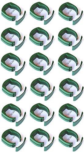 18 x Ø 34 mm Zaun Pfosten Halter Clip für Gartenzaun Schweißdraht Gartengitter Befestigung an Zaun-Pfahl grün RAL 6005