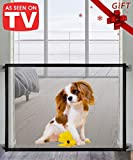 QUEENII Magic Gate for Dogs,Dog gate, Pet Safety Gate, Portable Folding Mesh Magic Gate, Safe Guard Install Anywhere, Safety Fence for Hall Doorway 78 * 100cm (Black)