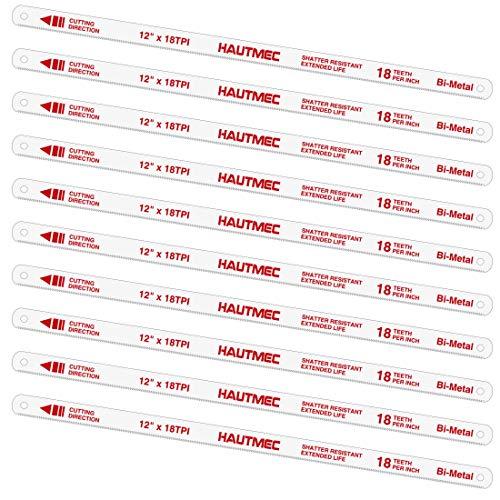 "HAUTMEC 12"" Hacksaw Blades Replacement Bi-Metal(10 Pack) 18 TPI High Speed Steel Grounded Teeth HT0016-CT"