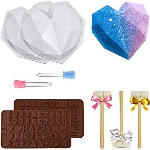 Diamond Heart Silicone Mold Heart Molds for Chocolate 9 pcs Love Mousse Cake 3D Baking Pan Set product image